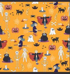 Seamless halloween ghost pattern background cute d vector