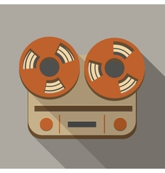 Flat long shadow tape recorder vector
