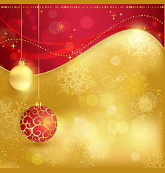 Red golden christmas background with baubles vector