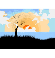 Sunset with landscape cartoon scene vector