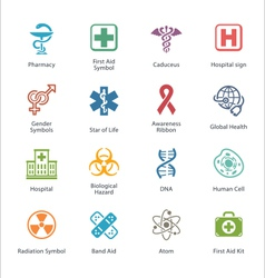 Colored medical health care icons - set 1 vector