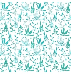 Blue green hand drawn seawedd underwater vector
