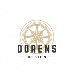 Old compass logo hand drawn vintage design vector