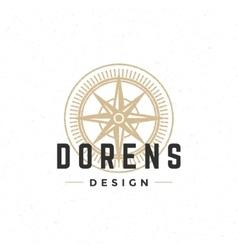 Old compass logo hand drawn vintage design vector