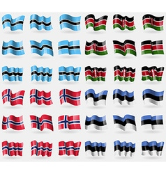 Botswana kenya norway estonia set of 36 flags of vector