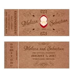 Ticket for wedding invitation with wedding golden vector