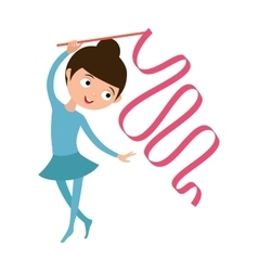 Teenager doing gymnastics dance with ribbon little vector