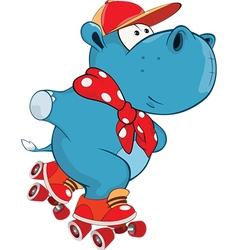 Cute Hippo Cartoon Character vector image