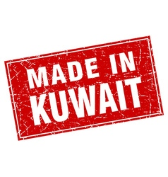 Kuwait red square grunge made in stamp vector