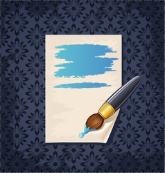 Blank note paper with brush on wallpaper vector