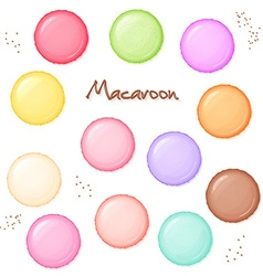 Hand drawn set of coloured sweet macaroon - top vector
