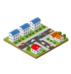 Isometric landscape of a small town vector