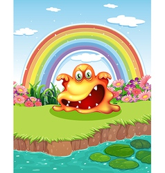 A scary monster at the pond and a rainbow in the vector image vector image