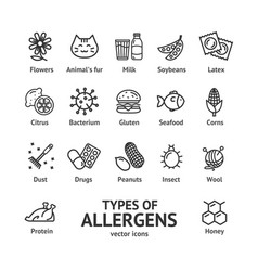 allergens signs black thin line icon set vector image