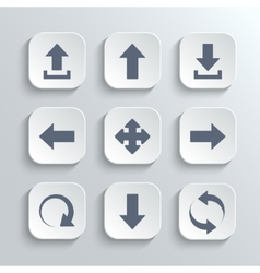 Arrows icon set - white app buttons vector