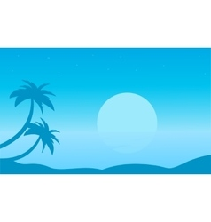Beach with palm landscape of silhouettes vector