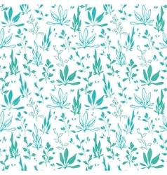 Blue Green Hand Drawn Seawedd Underwater vector image vector image