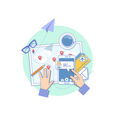 booking online flights travel or ticket line vector image vector image