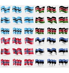 Botswana kenya norway estonia set of 36 flags of vector