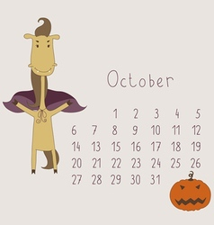 Calendar for october 2014 vector