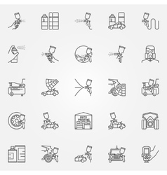 Car painting icons set vector