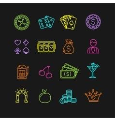 Casino Icon Color Set vector image vector image