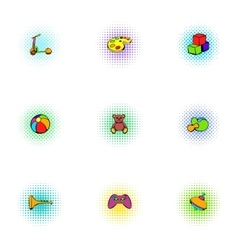 Child play icons set pop-art style vector
