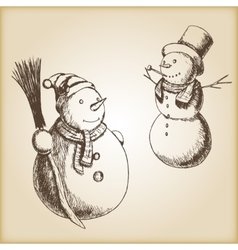Christmas hand drawn - snowman vector image vector image