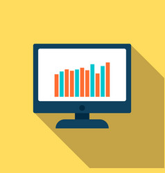 computer screen with graph icon in flat style vector image