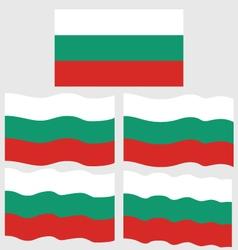 Flat and waving flag of bulgaria vector