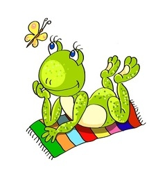 frog on the beach towel vector image vector image