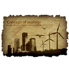 Grungy old paper with a big city and windmills vector