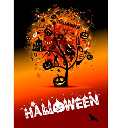 Halloween night party concept tree for your design vector image vector image