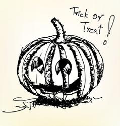 halloween pumpkin sketch vector image vector image