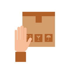 hand human with box carton delivery icon vector image