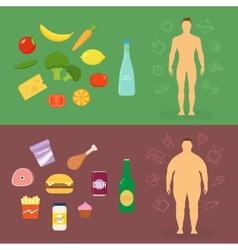 Healthy lifestyle flat card or infographic vector