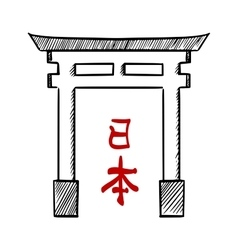 Japanese traditional gate torii sketch vector image