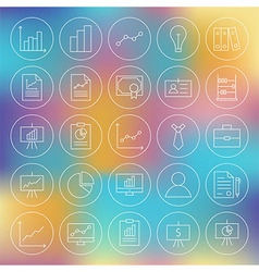 Line circle finance business office icons set vector