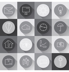 Line craft web icons set for business in flat vector