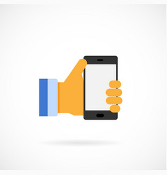 Mobile phone holding hand vector