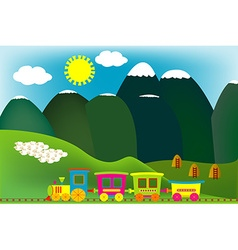 Mountain landscape with cartoon train vector image vector image