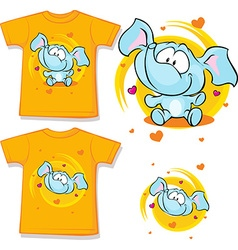 Orange shirt with baby elephant printed - vector