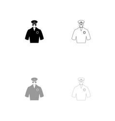 police black and grey set icon vector image vector image