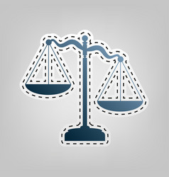 Scales of justice sign blue icon with vector