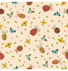 Seamless pattern with leaves hearts and ladybirds vector