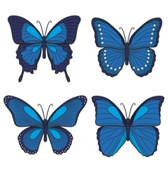 Set of blue butterflies vector image vector image