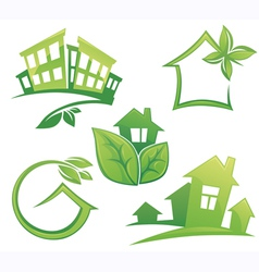 set of ecological city and homes vector image