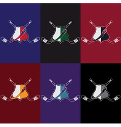 set of vintage hockey crests vector image