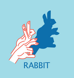 Shadow theater hands gesture like rabbit vector