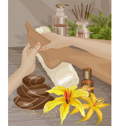 spa foot massage hands doing foot massage vector image vector image